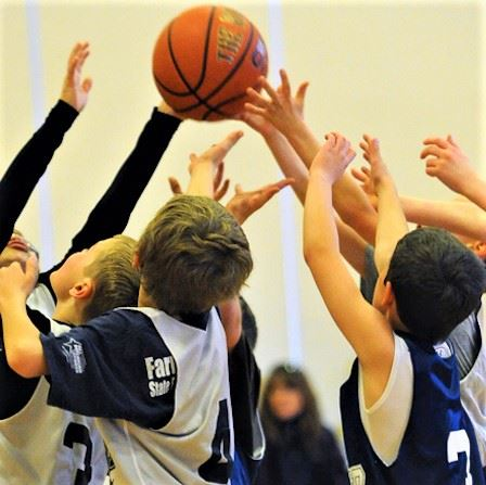 A team of youth basketball players vying for the ball