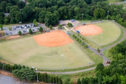 Aerial view of Torrence Chapel Park ballfields